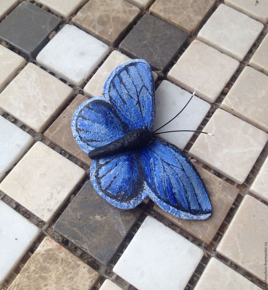 """Броши ручной работы. Ярмарка Мастеров - ручная работа. Купить Брошь из кожи """"Бабочка"""". Handmade. Синий, бабочка мотылёк"""