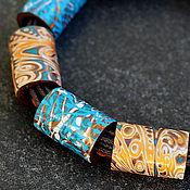 Украшения ручной работы. Ярмарка Мастеров - ручная работа колье из полимерной глины волшебные узоры 12. Handmade.