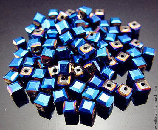 Для украшений ручной работы. Ярмарка Мастеров - ручная работа. Купить кубики стекло пр-ва Чехия 4 мм. Handmade.