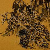 Картины и панно ручной работы. Ярмарка Мастеров - ручная работа картинаНад бездной(китайская живопись пейзаж сосна дерево фен-шуй. Handmade.