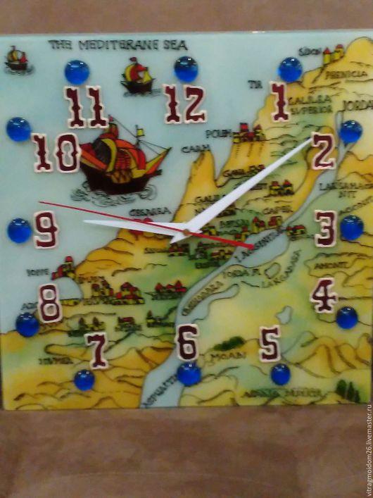 Часы для дома ручной работы. Ярмарка Мастеров - ручная работа. Купить часы настенные Карта Древнего Израиля. Handmade. Комбинированный