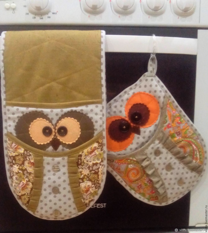 Set oven gloves 'Three owls', Potholders, Orel,  Фото №1