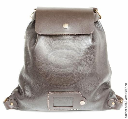 Рюкзаки ручной работы. Ярмарка Мастеров - ручная работа. Купить Тёмно-коричневый кожаный рюкзак Милитари. Handmade. Коричневый
