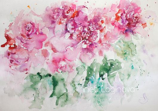 Картины цветов ручной работы. Ярмарка Мастеров - ручная работа. Купить Акварельный полдень. Handmade. Нежность, картины с цветами