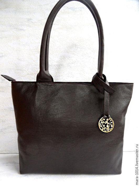 Женские сумки ручной работы. Ярмарка Мастеров - ручная работа. Купить Shopping bag кожаная классическая сумка, шоколадно-коричневая. Handmade.