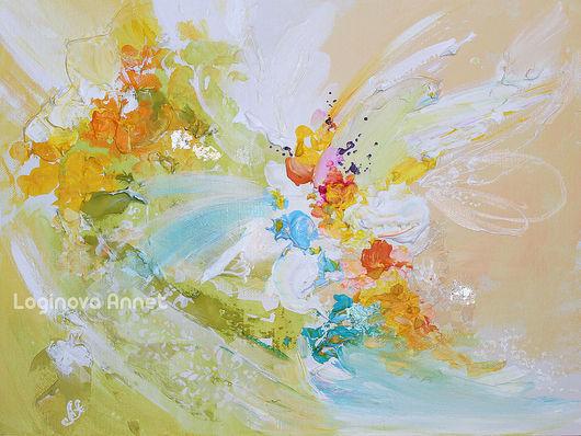 Абстракция ручной работы. Ярмарка Мастеров - ручная работа. Купить Fly spring. Handmade. Бежевый, всплеск, современная картина