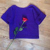 Одежда handmade. Livemaster - original item Top of mohair with silk with bent sleeves Tenderness. Handmade.