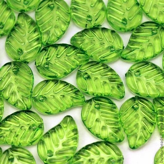 Бусины подвески акриловые прозрачные в форме листа дерева  для использования в сборке украшений в качестве бусин или подвесок Цвет бусин ярко-зеленый