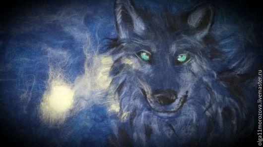 Животные ручной работы. Ярмарка Мастеров - ручная работа. Купить картина из шерсти.волк. Handmade. Тёмно-синий, полнолуние