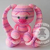 Куклы и игрушки ручной работы. Ярмарка Мастеров - ручная работа Ушастик - полосатый (розовый). Handmade.