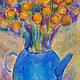 Картины цветов ручной работы. Ярмарка Мастеров - ручная работа. Купить картина Голубой чайник и желтые цветы.+Рама.. Handmade.