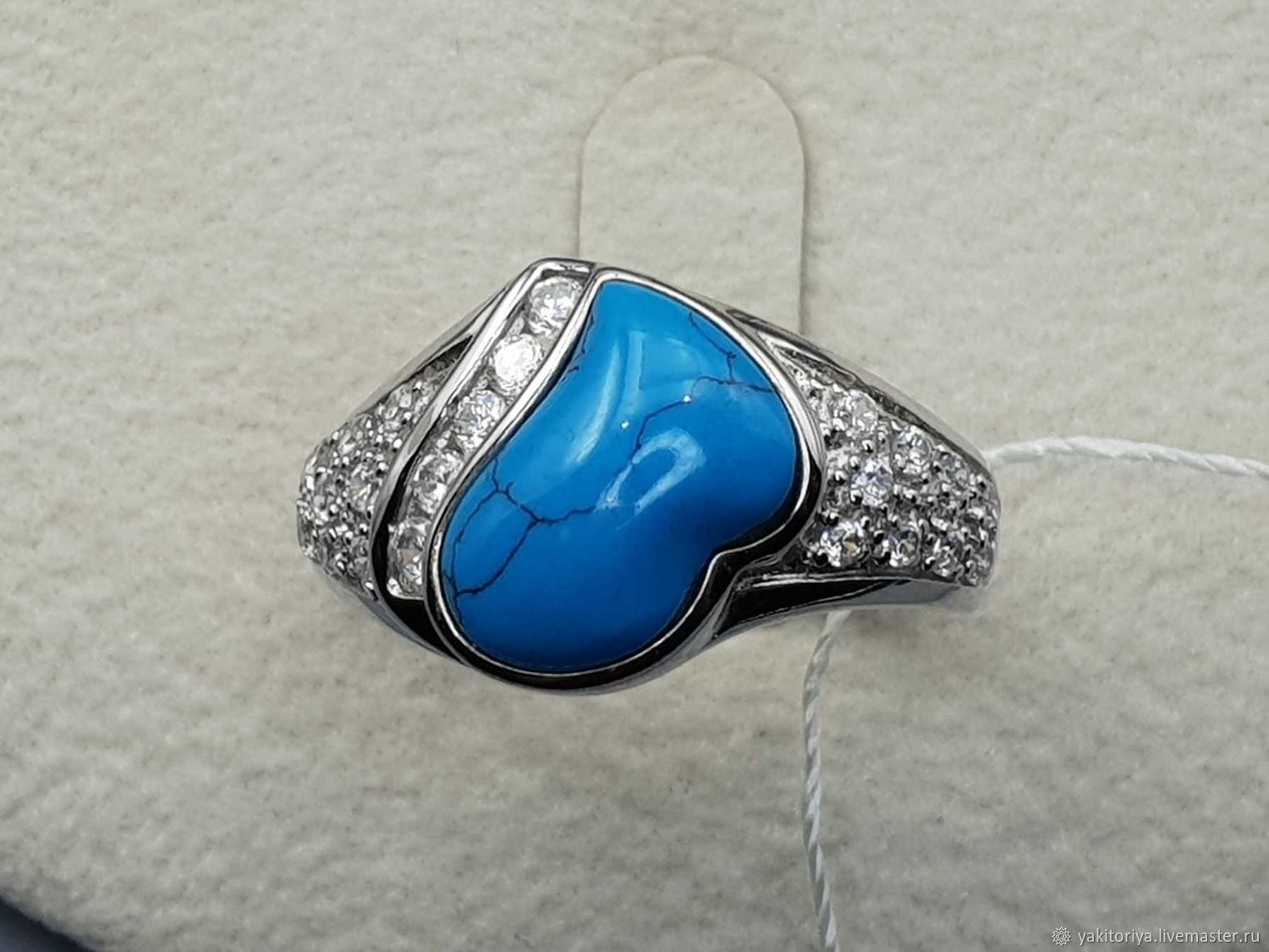 Silver ring with turquoise 12h11 mm and cubic zirconia, Rings, Moscow,  Фото №1