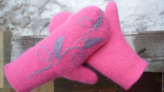 Варежки, митенки, перчатки ручной работы. Ярмарка Мастеров - ручная работа. Купить Варежки женские. Handmade. Розовый, авторский войлок