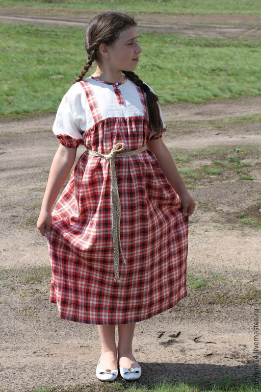 Одежда для девочек, ручной работы. Ярмарка Мастеров - ручная работа. Купить Детское платье-сарафан в клеточку. Handmade. Разноцветный