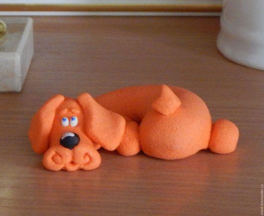 Миниатюрные модели ручной работы. Ярмарка Мастеров - ручная работа. Купить Фигурка Собачка. Handmade. Оранжевый, собачка, веселая игрушка