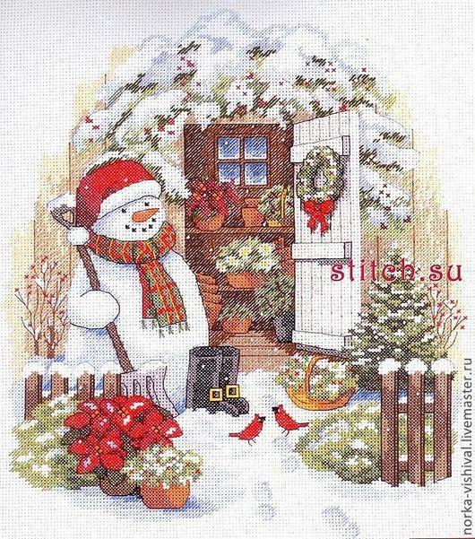 """Вышивка ручной работы. Ярмарка Мастеров - ручная работа. Купить Набор для вышивания  Dimensions """"Garden Shed Snowman"""". Handmade. Белый"""