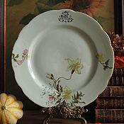 Винтаж handmade. Livemaster - original item Plate with hand-painted and monogrammed TS. Handmade.
