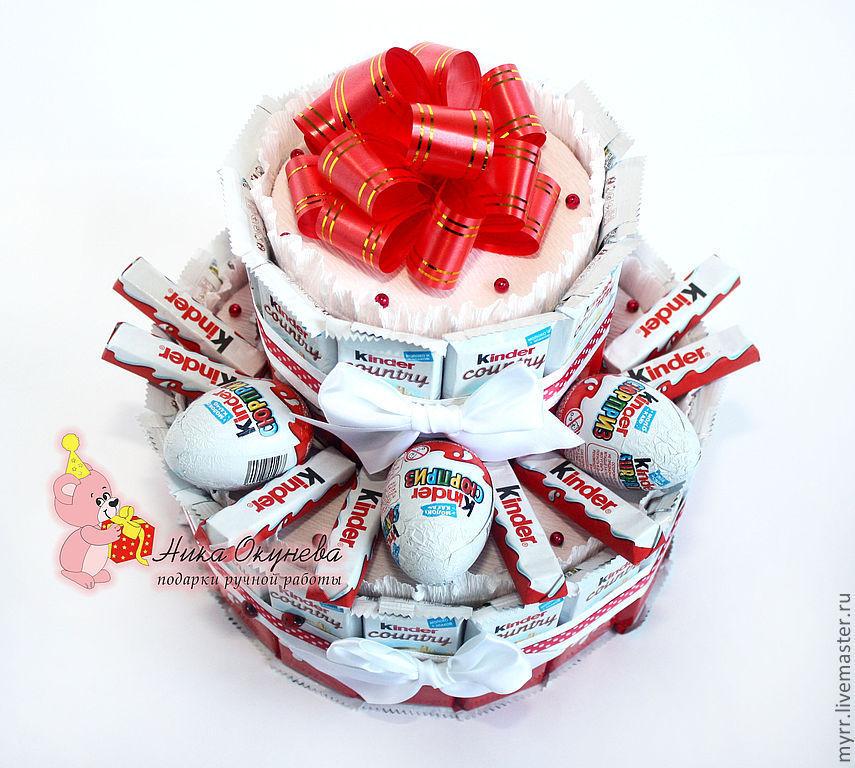 Подарок из конфет и киндеров 86