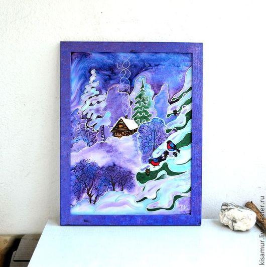 """Пейзаж ручной работы. Ярмарка Мастеров - ручная работа. Купить картина панно батик сине сиреневое """"Зимняя сказка"""" натуральный шелк. Handmade."""