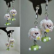 Украшения handmade. Livemaster - original item Earrings Oh, you poor lamb lampwork. Handmade.