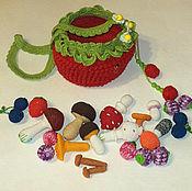 Кукольная еда ручной работы. Ярмарка Мастеров - ручная работа Кукольная еда набор 21 предмет вязаные ягодки и грибочки. Handmade.
