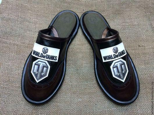 """Обувь ручной работы. Ярмарка Мастеров - ручная работа. Купить Кожаные тапочки """" WORLD of TANKS""""-1. Handmade."""