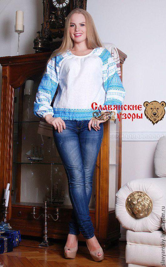 """Блузки ручной работы. Ярмарка Мастеров - ручная работа. Купить Блуза """"Миролада"""" голубая. Handmade. Голубой, блузка, женская, лён"""