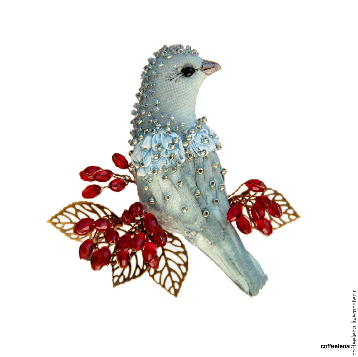 Brooch 'Bird of color denim on the branch of barberry'.Textile brooch-bird, Brooches, Krasnodar,  Фото №1