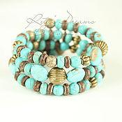 Украшения handmade. Livemaster - original item Multi-row bracelet Blue turquoise turquoise three-row in memory summer. Handmade.