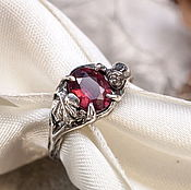 Украшения handmade. Livemaster - original item Thin silver ring with garnet