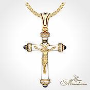 Подвеска ручной работы. Ярмарка Мастеров - ручная работа Православный крест с белой эмалью (средний). Handmade.