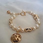 Украшения handmade. Livemaster - original item Bracelet made of Goldfield with pearls. Handmade.