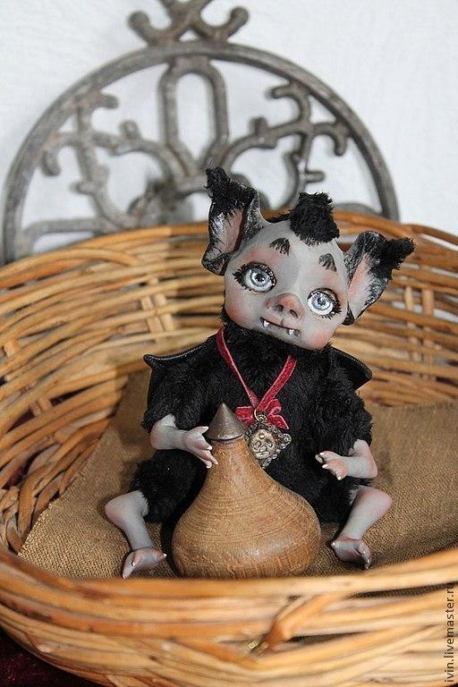 Сказочные персонажи ручной работы. Ярмарка Мастеров - ручная работа. Купить Летучая мышка Кики. Handmade. Черный, милая игрушка