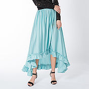 Одежда ручной работы. Ярмарка Мастеров - ручная работа Черная голубая, шелковая юбка ,юбка с воланом. Handmade.