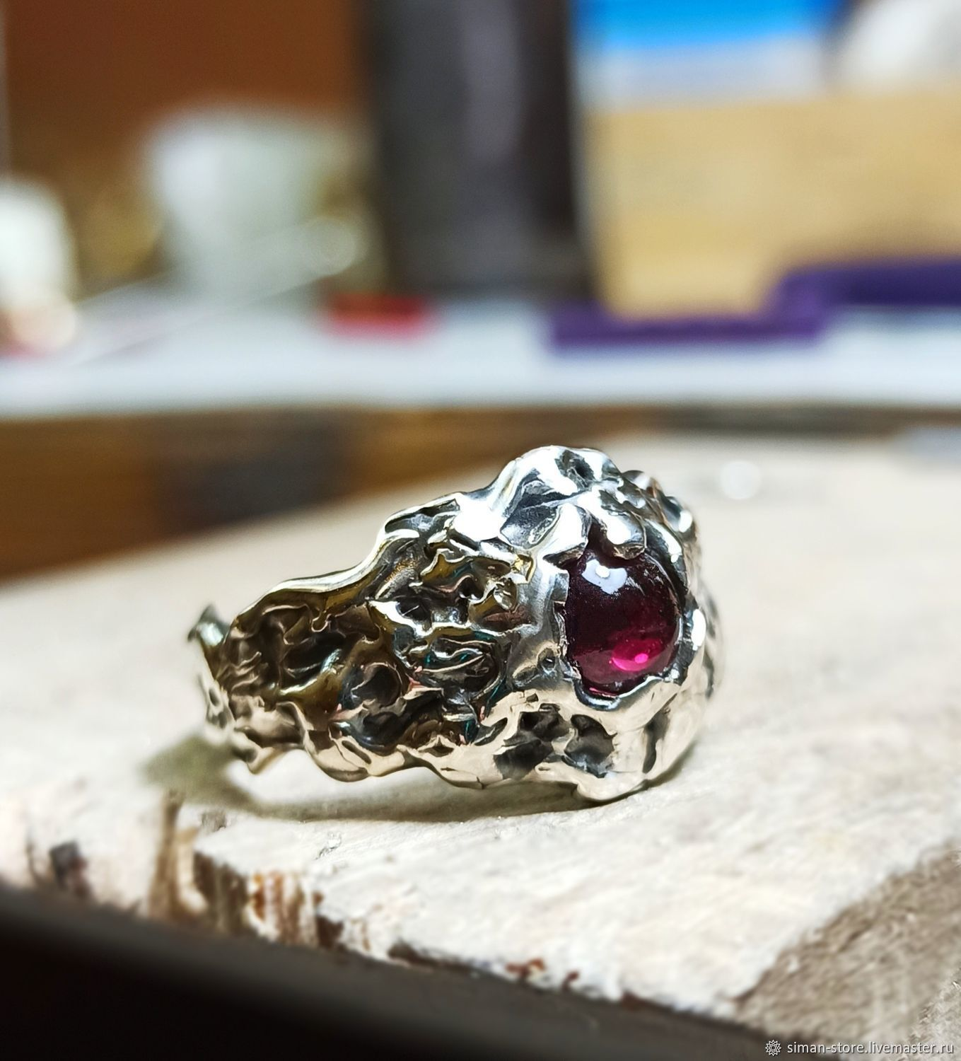 Silver ring with natural garnet ' Volcano', Rings, St. Petersburg,  Фото №1
