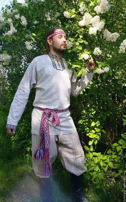 Одежда ручной работы. Ярмарка Мастеров - ручная работа. Купить Рубаха мужская. Handmade. Серый, русский народный костюм