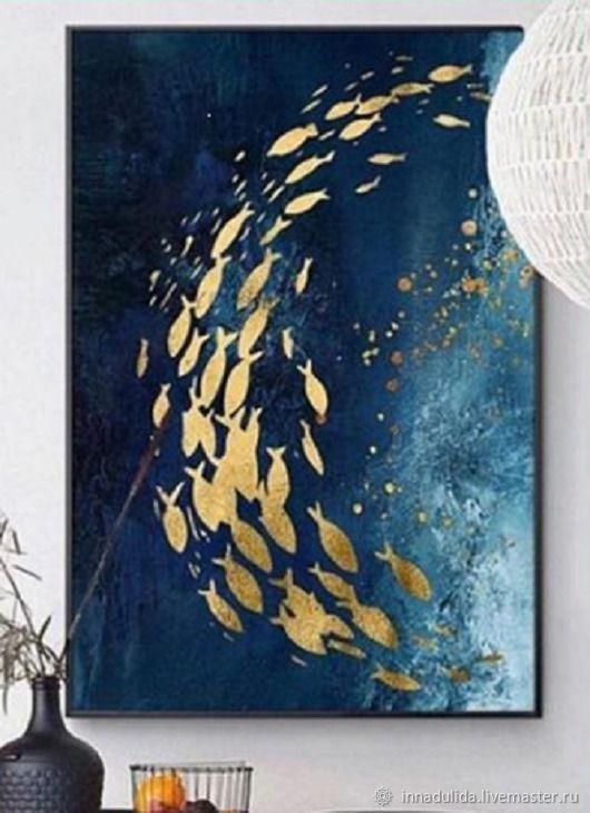 Абстракция ручной работы. Ярмарка Мастеров - ручная работа. Купить Картины: золотые рыбки. Handmade. Абстракция, картина в подарок, лак