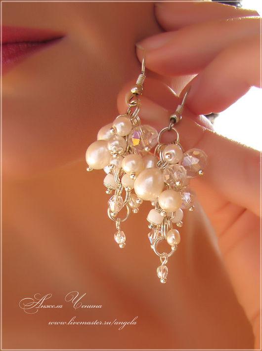 Жемчужные серьги-подвески в виде гроздьев Свадебные серьги-гроздья с натуральным светлым жемчугом Жемчужные серьги для невесты