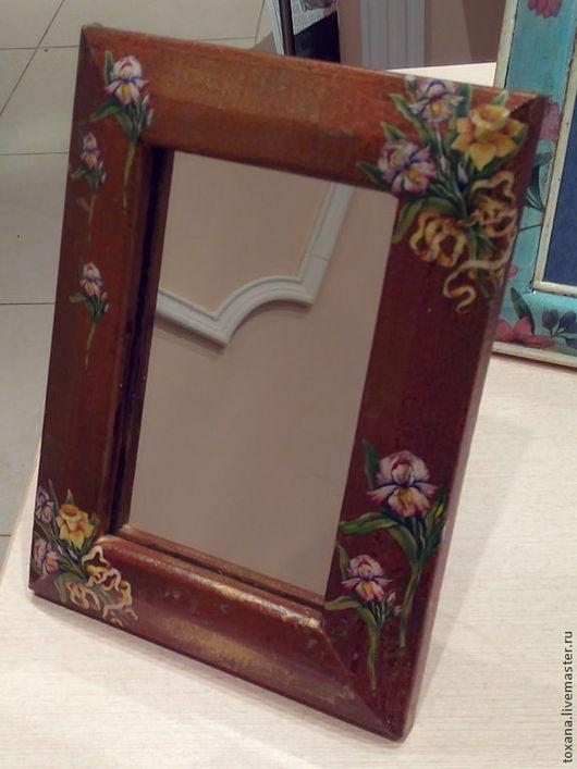 """Зеркала ручной работы. Ярмарка Мастеров - ручная работа. Купить Зеркало """"Бабушкино"""". Handmade. Зеркало, бабочки, ирисы"""