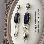 Украшения handmade. Livemaster - original item Long earrings with chains, blue aventurine and smoky pendants. Handmade.