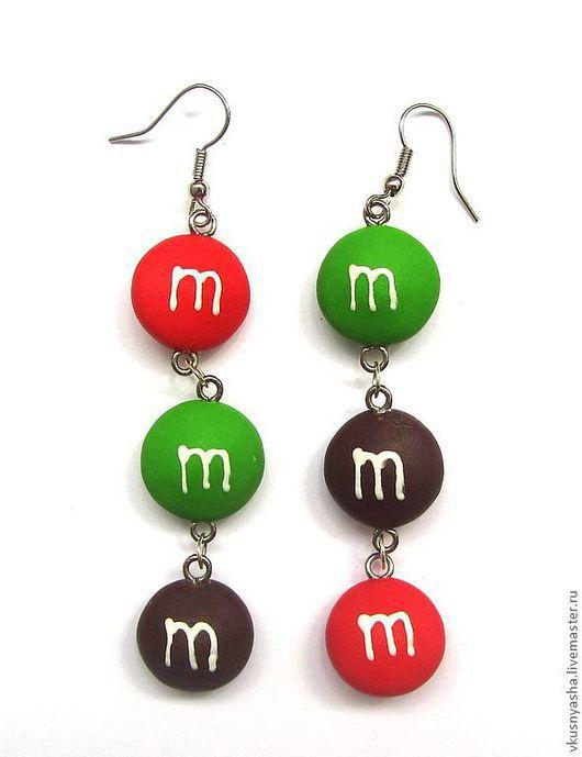 """Серьги ручной работы. Ярмарка Мастеров - ручная работа. Купить Зеленые красные желтые серьги """"m&m's"""" из полимерной глины. Handmade."""
