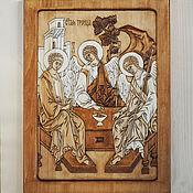 """Картины и панно ручной работы. Ярмарка Мастеров - ручная работа """"Святая Троица"""" (""""три ангела"""") резная икона. Handmade."""