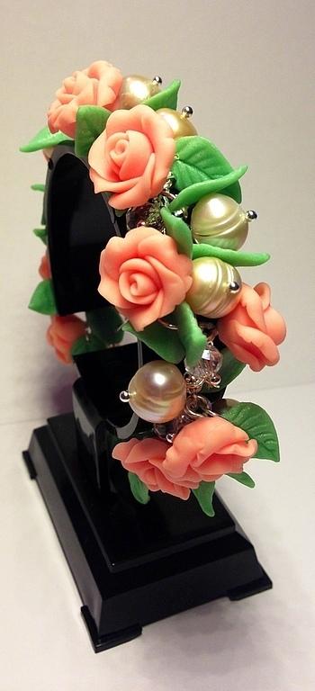 """Браслеты ручной работы. Ярмарка Мастеров - ручная работа. Купить Браслет """"Розы с жемчугом"""". Handmade. Кремовый, розы, стеклянные бусины"""