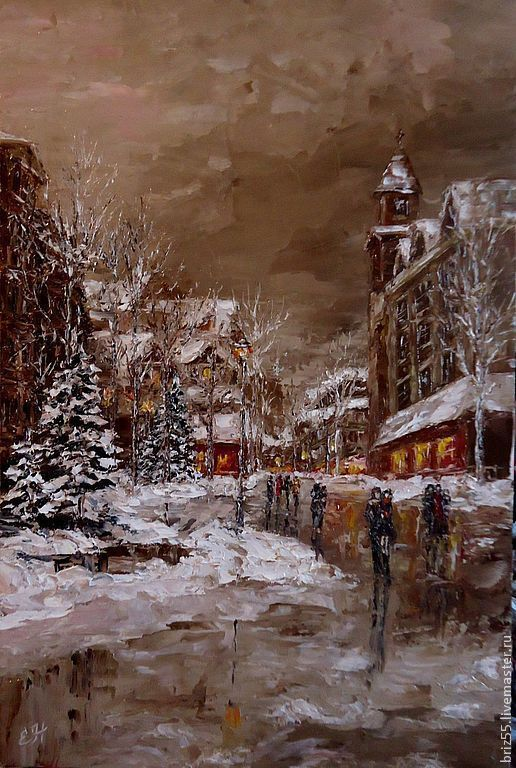 Oil painting Winter evening, Pictures, Zelenograd,  Фото №1