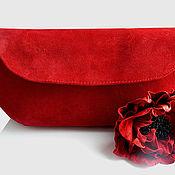"""Сумки и аксессуары handmade. Livemaster - original item Клатч и брошь """"Красный мак"""". ( красный замшевый клатч). Handmade."""