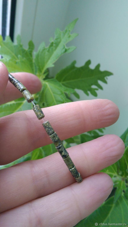Для украшений ручной работы. Ярмарка Мастеров - ручная работа. Купить Бусина Змеевик трубочка мал. Handmade. Зеленые камни