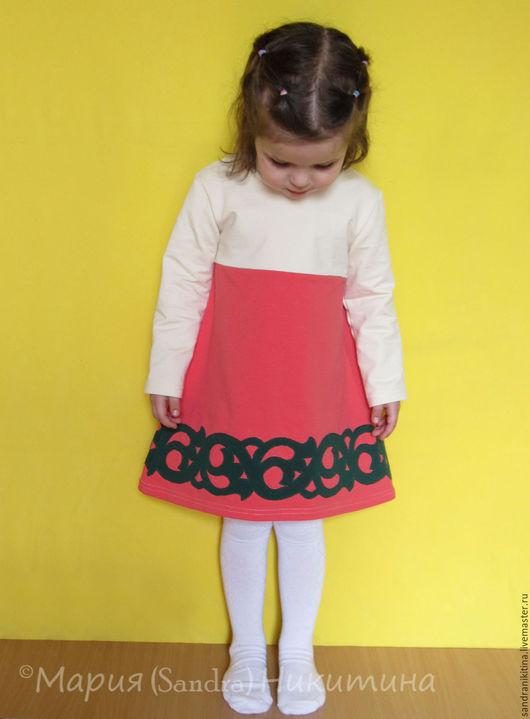 """Одежда для девочек, ручной работы. Ярмарка Мастеров - ручная работа. Купить """"Коралловое с орнаментом"""". Трикотажное платье. Handmade. Коралловый, для детей"""