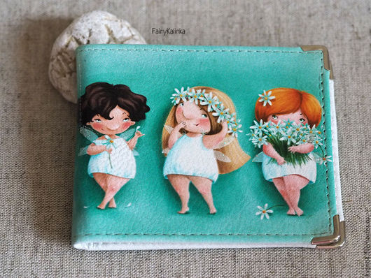 Кожаный кошелёк с иллюстрациями от чудесной Elina Ellis.  Магазин волшебных феечек. FairyKalinka