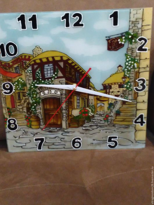 Часы для дома ручной работы. Ярмарка Мастеров - ручная работа. Купить часы настенные Старый городок. Handmade. Комбинированный