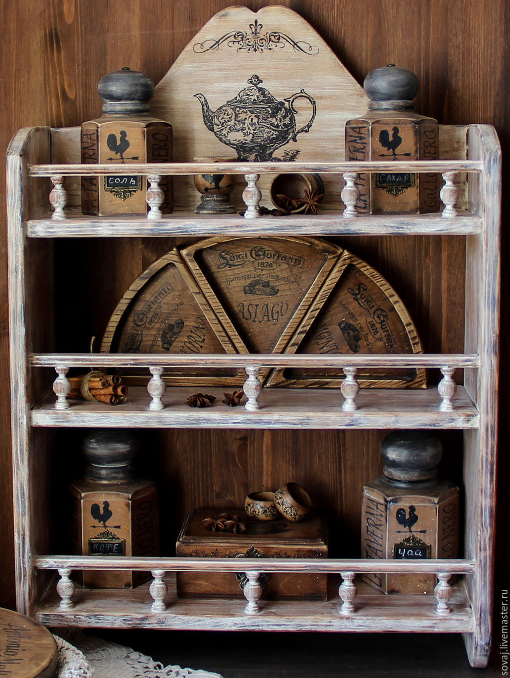 Big shelf for kitchen /solid pine/ ' Bouquet', Shelves, ,  Фото №1